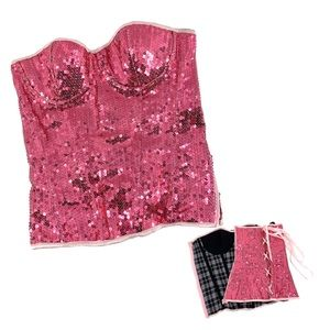 Pink Sequin Bustier Corset by Daisy Corset Medium
